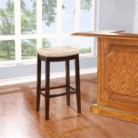 "Hawthorne Collection 30"" Faux Leather Bar Stool in Jute"