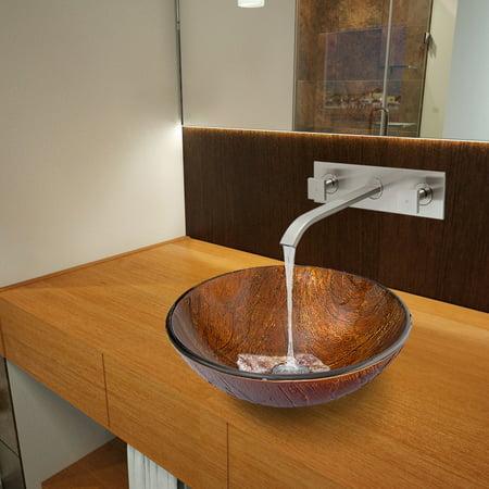 - VIGO Kenyan Twilight Glass Vessel Sink and Titus Wall Mount Faucet Set in Brushed Nickel