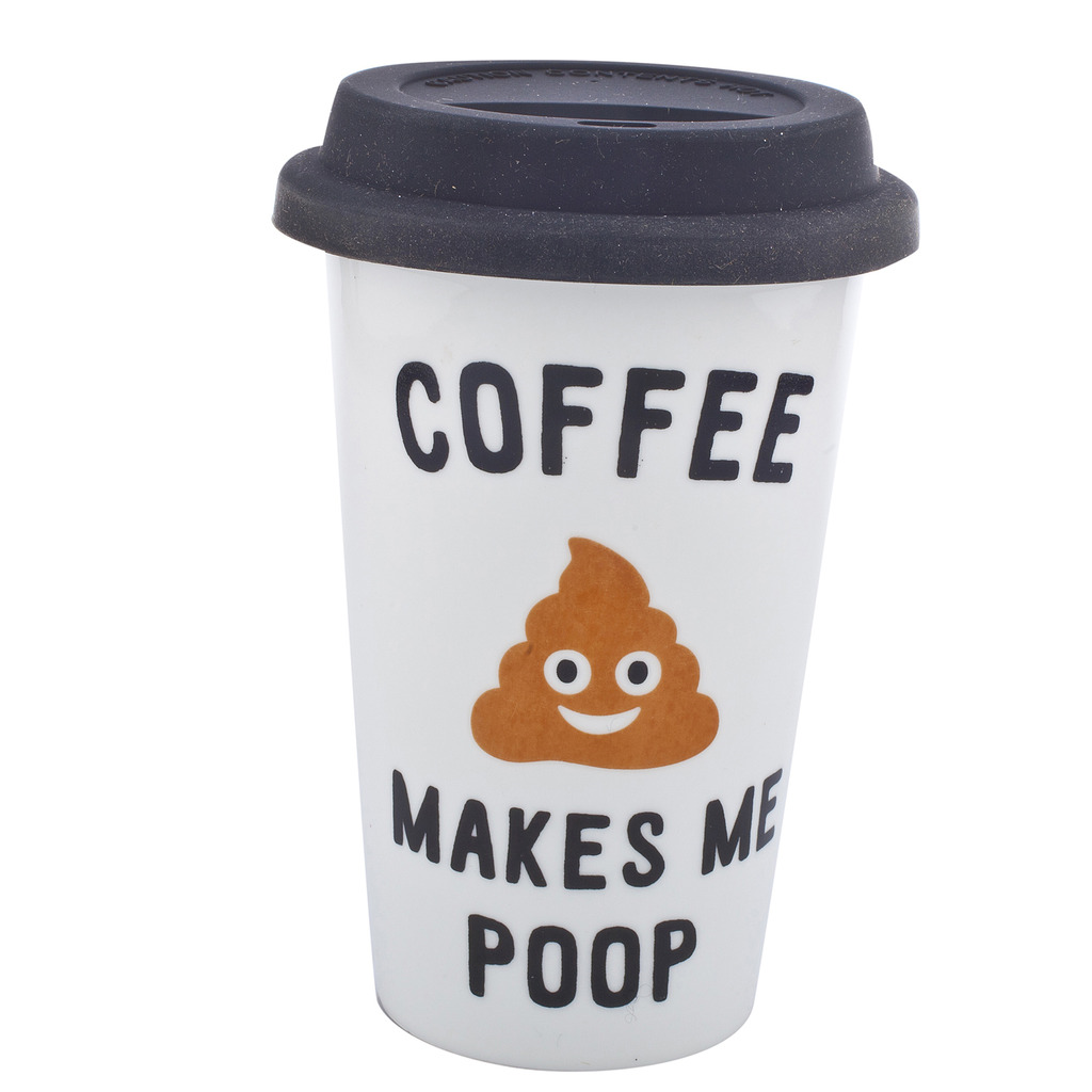 Lux Accessories Black White Coffee Makes Me Poop Travel Coffee Mug Cup