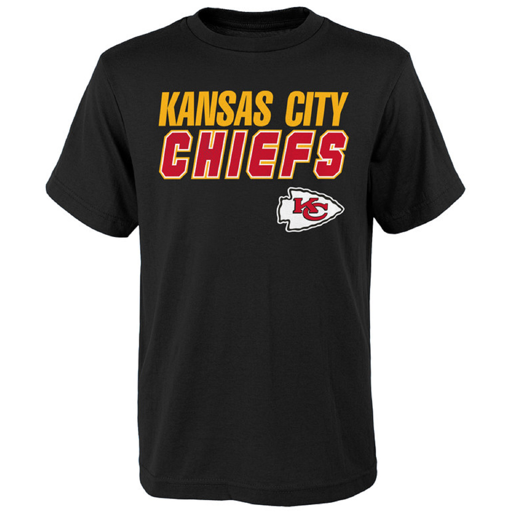 Youth Black Kansas City Chiefs Outline T-Shirt