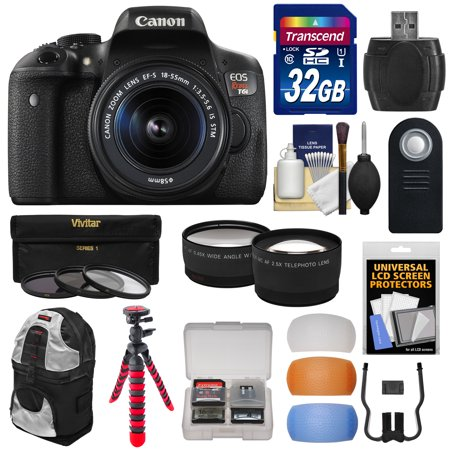 Canon Eos Rebel T6i Wi Fi Digital Slr Camera   Ef S 18 55Mm Is Stm Lens With 32Gb Card   Backpack   Tripod   Filters   Tele Wide Lenses   Kit
