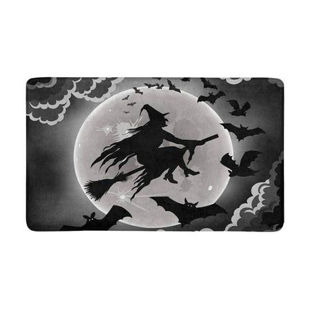 MKHERT Witch Silhouette with Bats Funny Halloween Theme Doormat Rug Home Decor Floor Mat Bath Mat 30x18 inch](Halloween Laurie's Theme Mp3)