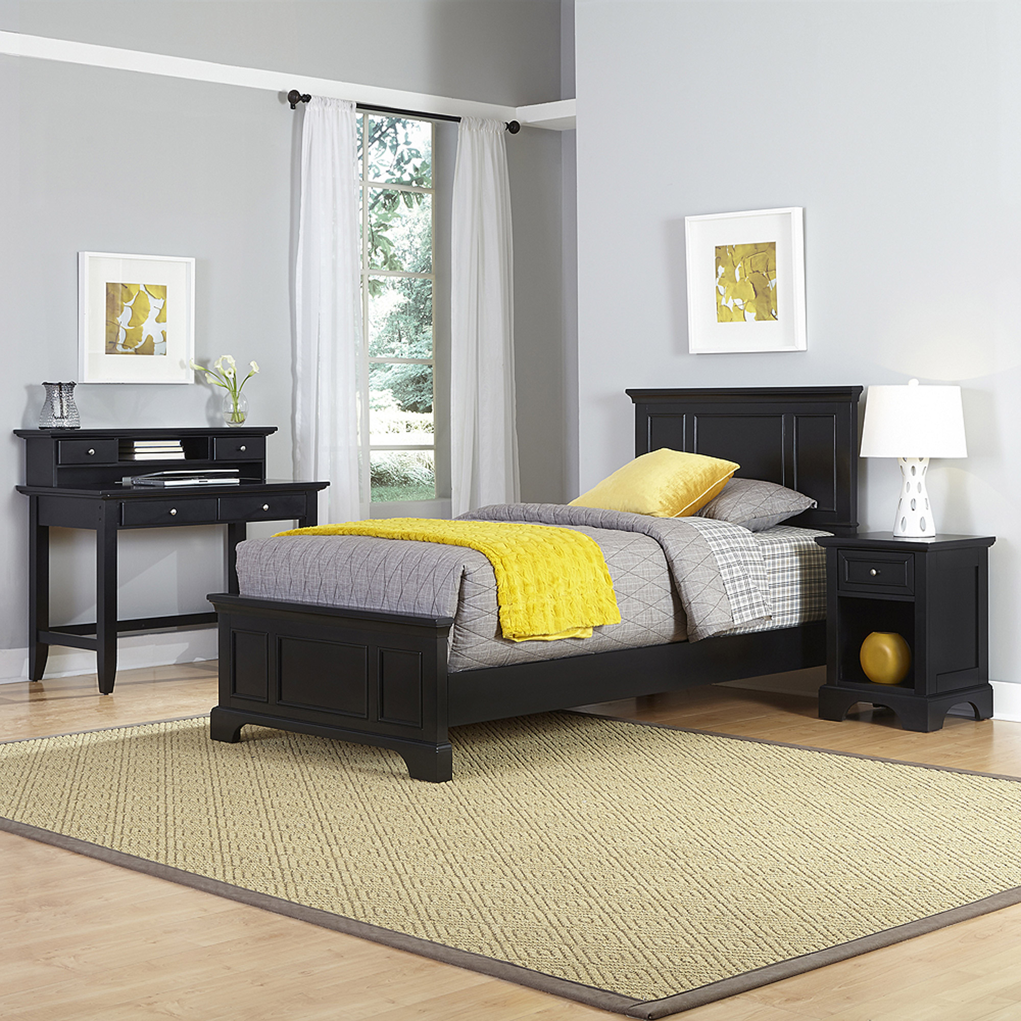 Home Styles Bedford Twin Bed, Night Stand and Student Desk with Hutch
