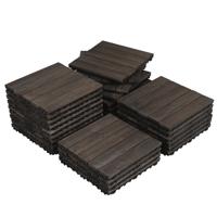 Yaheetech Pack of 27 Wood Flooring Tiles Interlocking Wood Tiles Indoor & Outdoor For Patio Garden Deck Poolside 12''x 12''