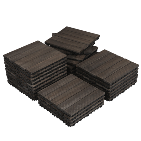 Yaheetech Pack of 27 Wood Flooring Tiles Interlocking Wood Tiles Indoor & Outdoor For Patio Garden Deck Poolside 12''x 12''
