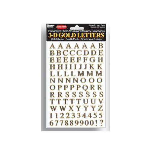 Pioneer 3-D Gold Letters - Self-adhesive letters ( pack of 242 )