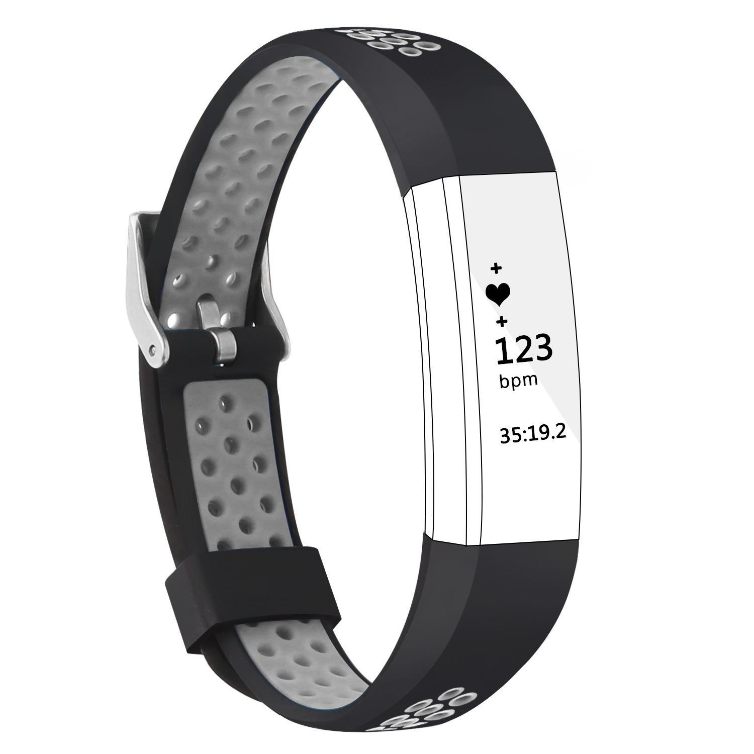 Adepoy Soft Silicone Replacement Strap Bands for Fitbit Alta Fitbit Alta HR with Stainless Steel Buckle by Adepoy