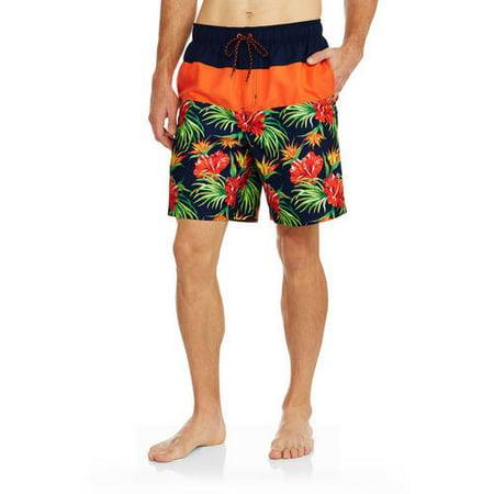 00e40771ac Faded Glory - Men's All Guy Floral Print Swim Trunks - Walmart.com