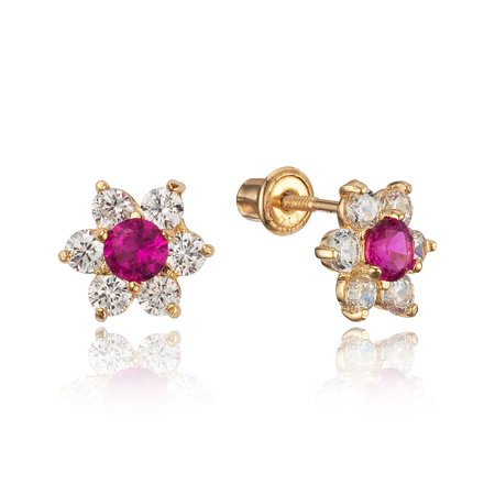 14k Yellow Gold Red Flower Cubic Zirconia Children Screwback Baby Girls Stud Earrings