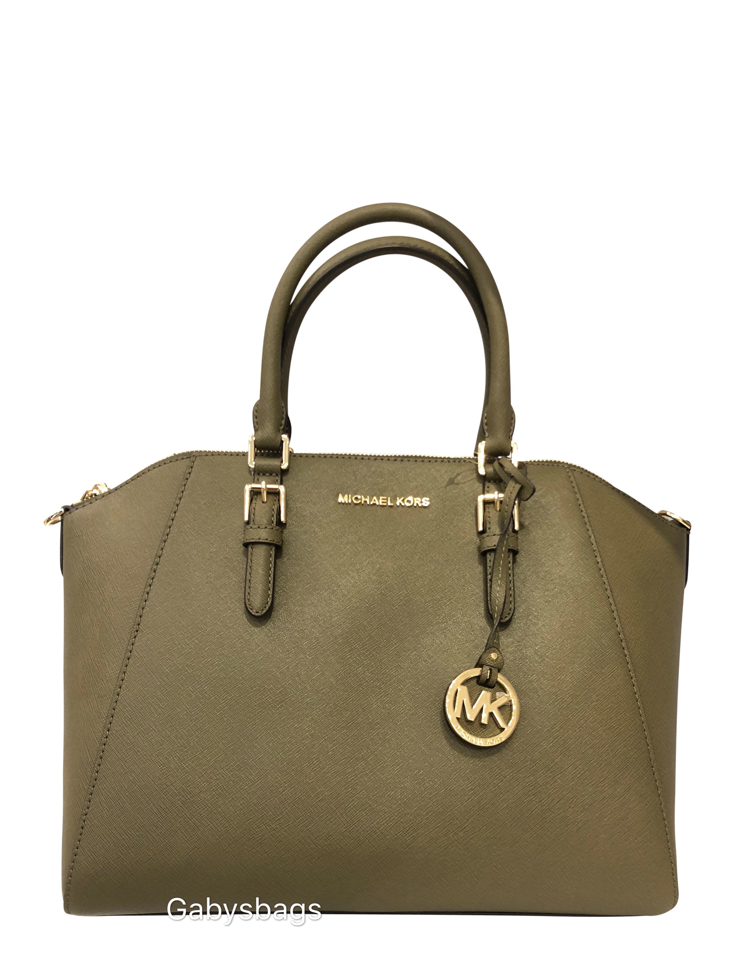 849c961f2ffd Michael Kors Large Ciara Top Zip Satchel Bag Olive Green - Walmart.com