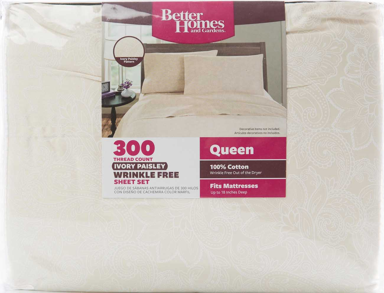 Extra deep pocket queen fitted sheets - Better Homes And Gardens 100 Cotton 300 Thread Count Wrinkle Free Sheet Set Walmart Com