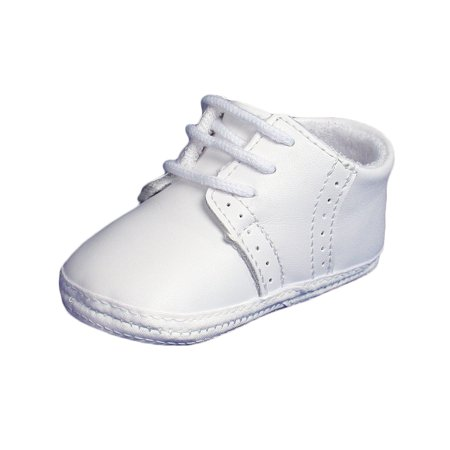 Little Things Mean A Lot Baby Boys All White Genuine Leather Saddle Oxford Crib Shoe with Perforations - Saddle Shoe