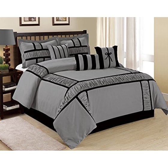 unique home 7 piece marma ruffle patchwork bed in a bag clearance bedding comforter duvet set. Black Bedroom Furniture Sets. Home Design Ideas