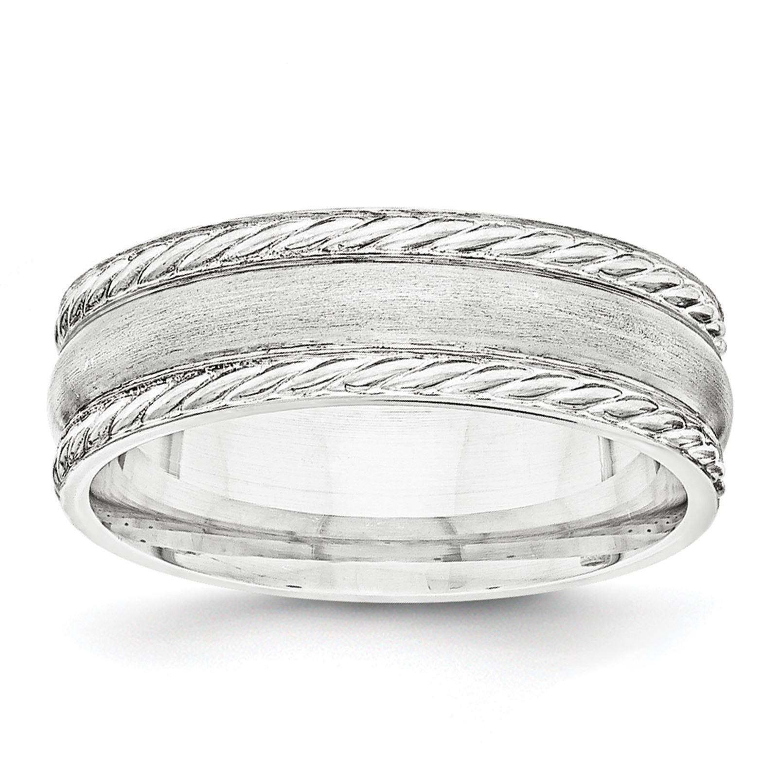 925 Sterling Silver 6mm Brushed Fancy Rope Wedding Band Ring Band Size 10.5