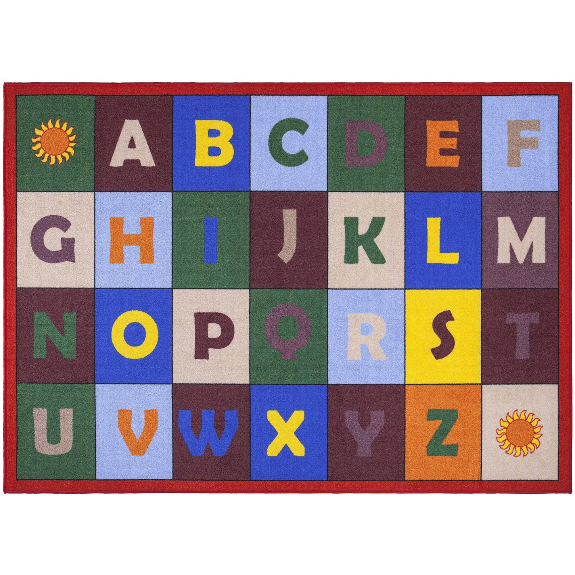 Ottomanson Jenny Red Frame Educational Alphabet Non-Slip Kids' Area Rugs