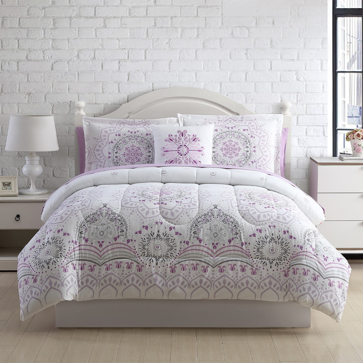 8 Piece Medallion Plush Overfilled Full Queen Comforter And Deep Pocket Sheet Bedding Set Purple Grey White Walmart Com Walmart Com