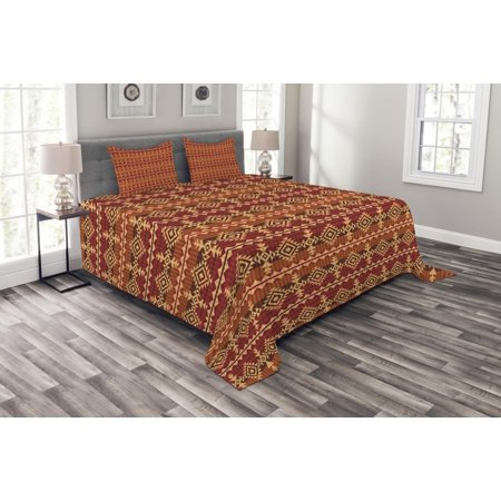 Mexican Bedspread Set, Ancient Aztec Culture Theme Classical Triangles Pattern Primitive Ornaments, Decorative Quilted Coverlet Set with Pillow Shams Included, Pale Orange Brown, by Ambesonne ()