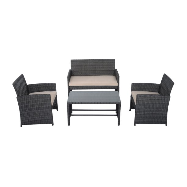Outsunny 4 Piece Cushioned Outdoor Rattan Wicker Chair And Loveseat Furniture Set