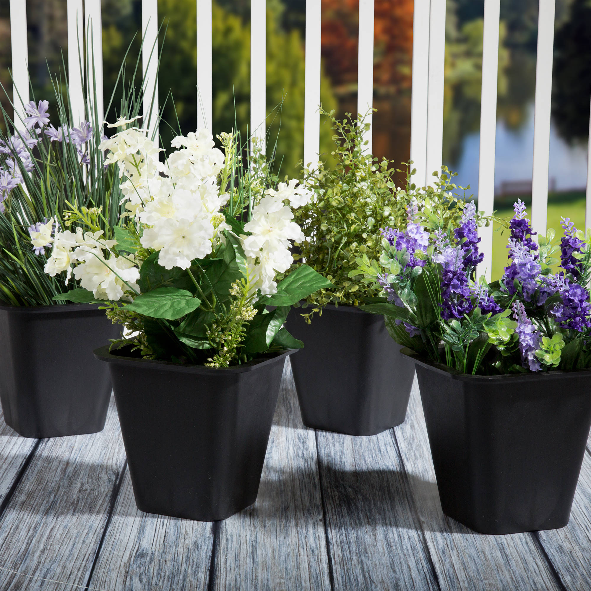 "Set of 4 Pure Garden Plastic Flower Pots, 6"" x 6"", Black"