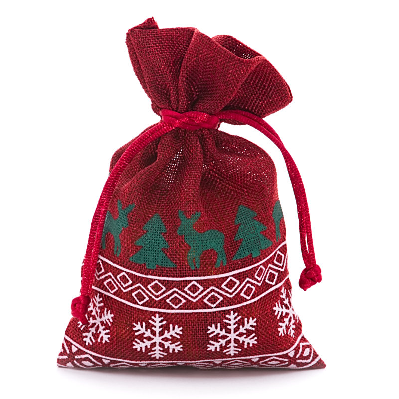 12ea - 4 X 6 Red Christmas Faux Linen Bags by Paper Mart