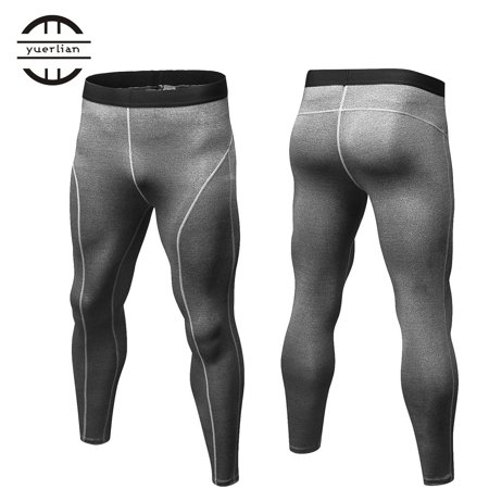 ff8fc62361 Men Solid Color Compression Pants Tights Casual Bodybuilding Skinny Leggings  - image 3 of 6 ...