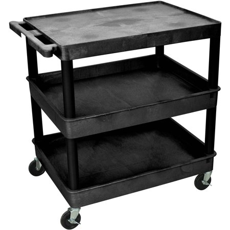 Luxor Large Flat Top Shelf and Tub Middle and Bottom Shelf Cart ()