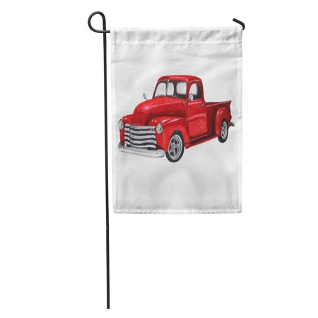 KDAGR Red Car Watercolor Vintage Toy Model Truck Old Classic Pickup Retro Garden Flag Decorative Flag House Banner 12x18 inch