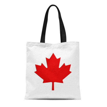 LADDKE Canvas Tote Bag Red Canadian Canada Maple Leaf America Autumn Calgary Celebration Reusable Shoulder Grocery Shopping Bags Handbag