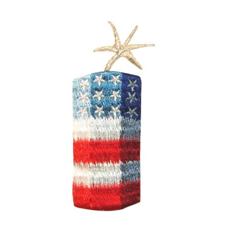 ID 1015 Lit American Firecracker Patch 4th of July Embroidered Iron On - Firecracker Cluster