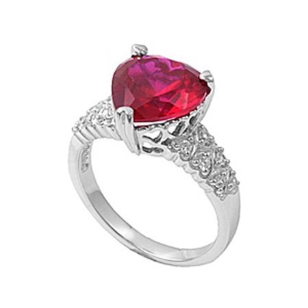 Simulated Ruby Huge Heart Promise Ring ( Sizes 5 6 7 8 9 10 11 ) New .925 Sterling Silver Band Rings (Size 9) (Ruby Ring Size 6)