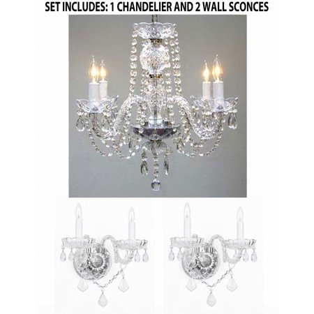 Eurofase Lighting Crystal Sconce - 3pc Lighting Set - Crystal Chandelier and 2 Wall Sconces