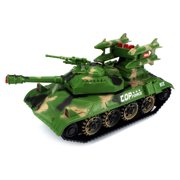 King Force Tank Battery Operated Kid's Bump and Go Toy Car w/ Fun Flashing Lights, Sounds (Colors May Vary)