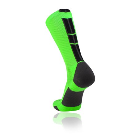 TCK Baseline 3.0 Elite Home Team NEON Body Crew Socks (Neon Green, Graphite, Black, XL) - Long Neon Socks
