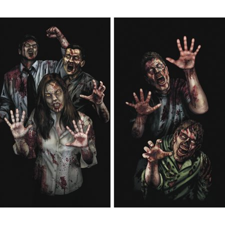 WOWindow Posters Zombie Asylum Halloween Window Decoration Two 34.5