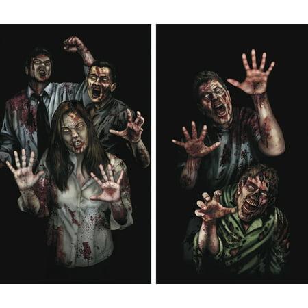 WOWindow Posters Zombie Asylum Halloween Window Decoration Two 34.5