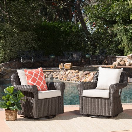 Christopher Knight Home Amaya Outdoor Wicker Swivel Rocking Chair with Cushion (Set of 2) by ()