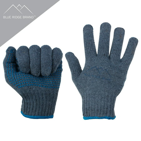 Blue Ridge Brand Natural Cotton Work Gloves - General Purpose PVC Dot Glove - Abrasion Resistant Rubber Grip Gloves - Men's Work Gloves Abrasion Resistant Rubber