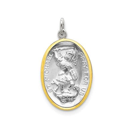 Sterling Silver St  Michael Medal Pendant Necklace Chain Included