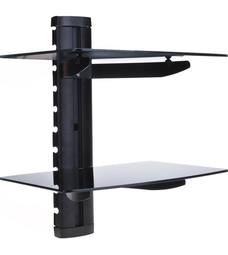 2 tier floating wall mount shelf tv component rack av console cable glass stand