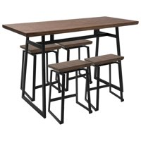 Geo 5-Piece Industrial Counter Set in Black with Brown Wood by LumiSource
