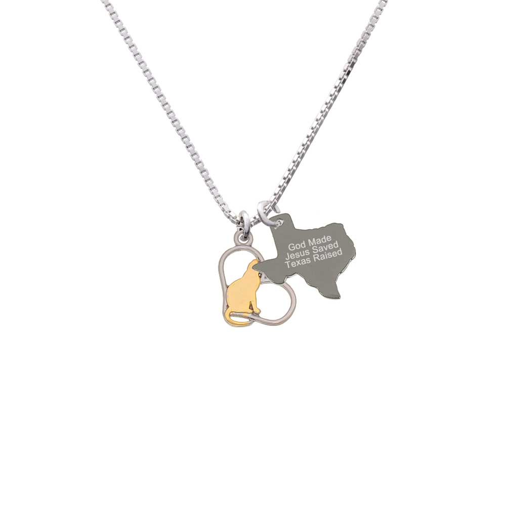 Delight Two-tone Cat Silhouette Heart - Engraved Texas Ra...