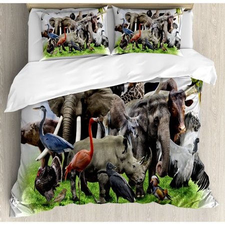 Ambesonne Wildlife Digital Collage of Wild Animals with African Safari Animals Zoo Print Artwork Duvet Cover Set