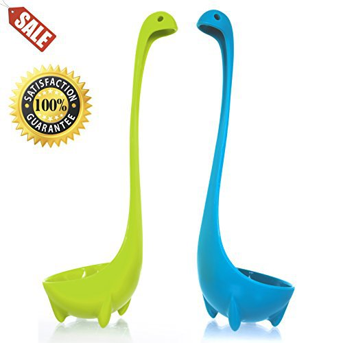 Wishstone Nessie Soup Ladle Set Of 2 Food-Safe 100% Nylon Dishwasher Safe Loch Ness Monster Stands Upright Cookware Tableware Kitchen Utensil Dipper Green And Blue