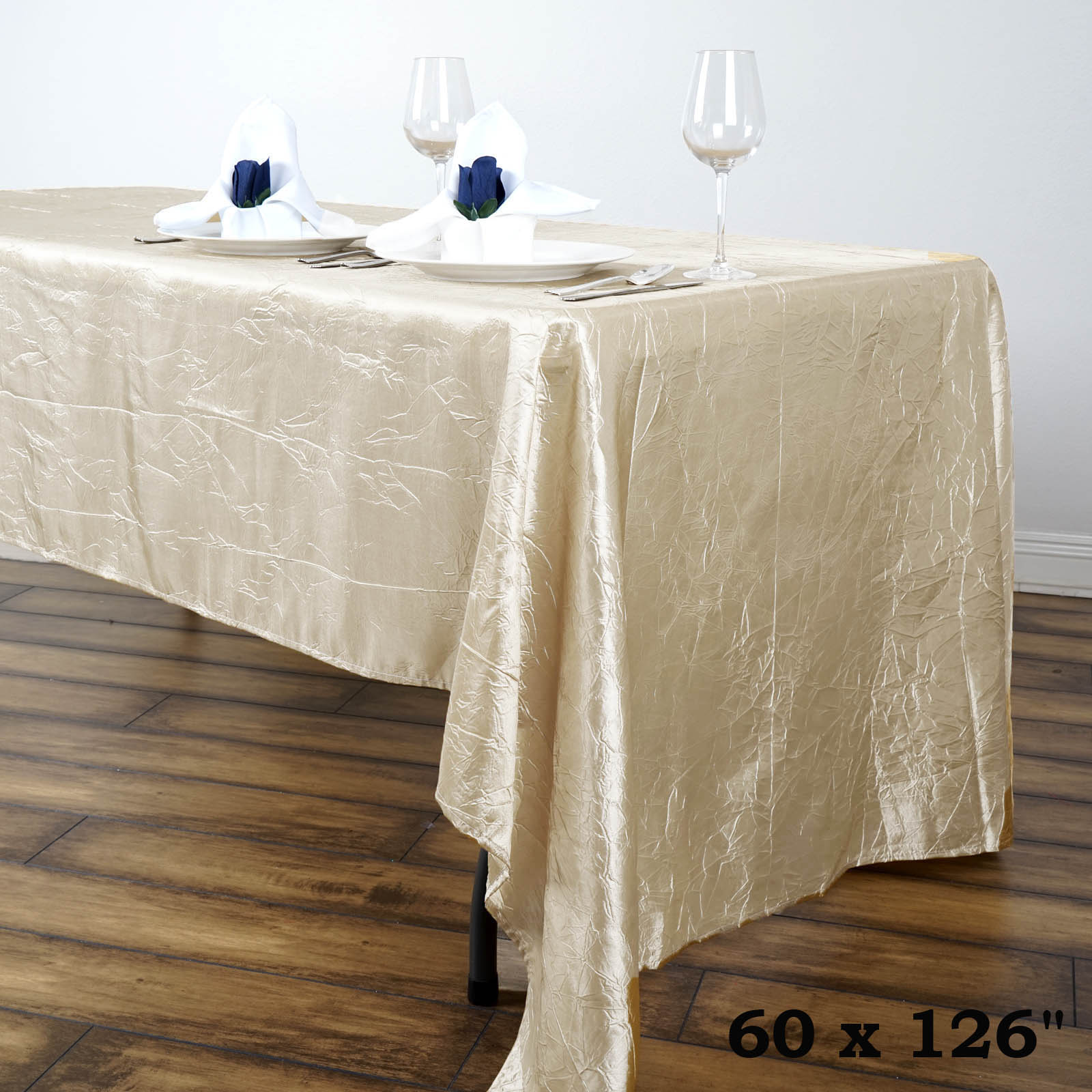 "60x126"" Crinkle Taffeta Rectangular Tablecloth - Wedding Party Home Decorations"