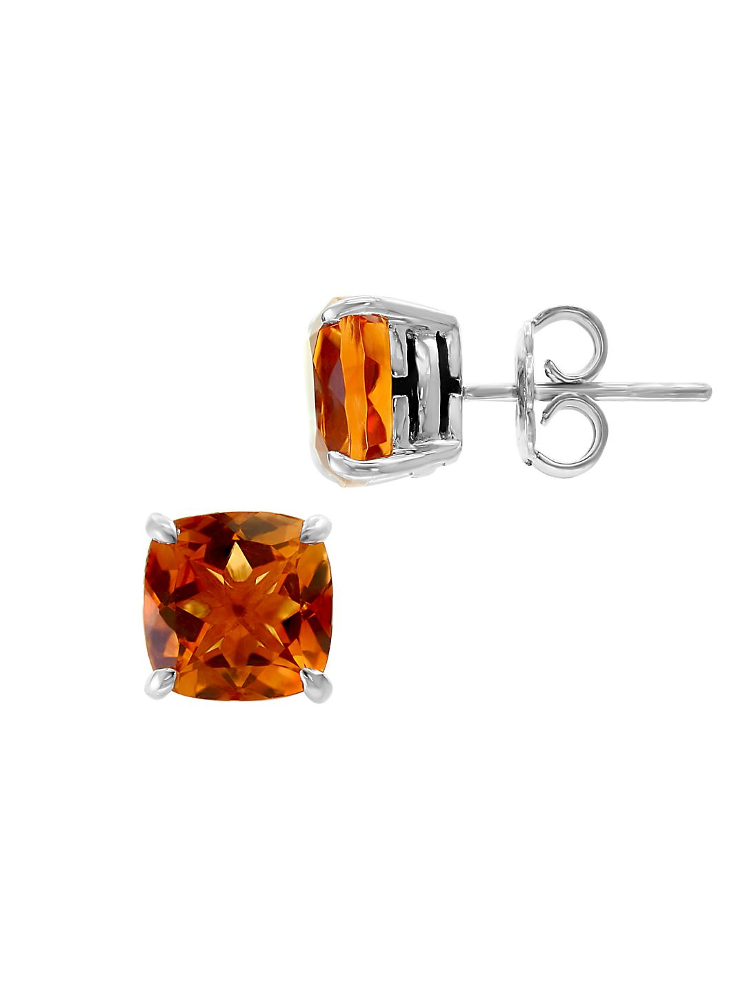 Sterling Silver & Citrine Basket Stud Earrings