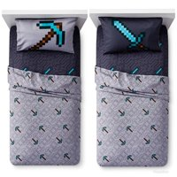 Minecraft Good VS Evil Twin Reversible Comforter and 3 Piece Sheet Set with Creeper Throw and Minecraft Creeper String Light Set