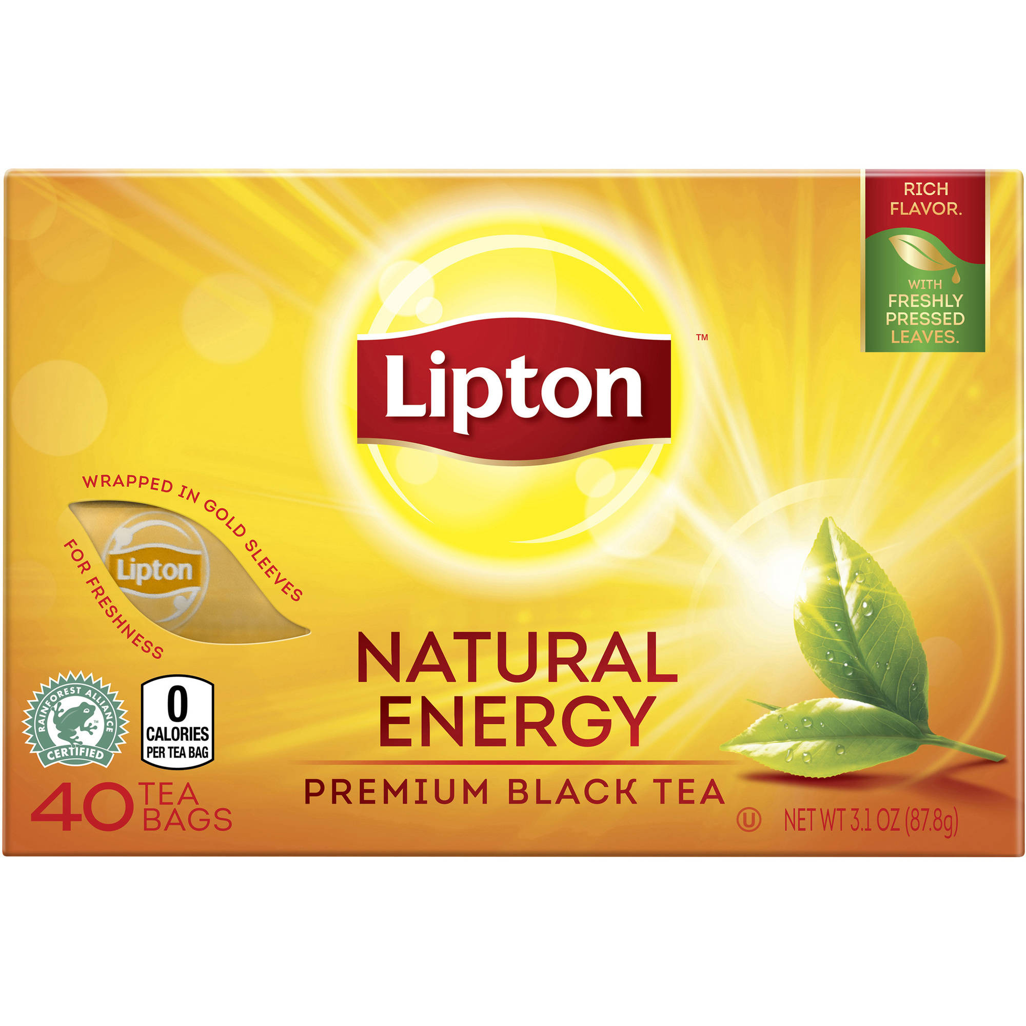 Lipton Premium Black Tea Bags Natural Energy, 40 ct