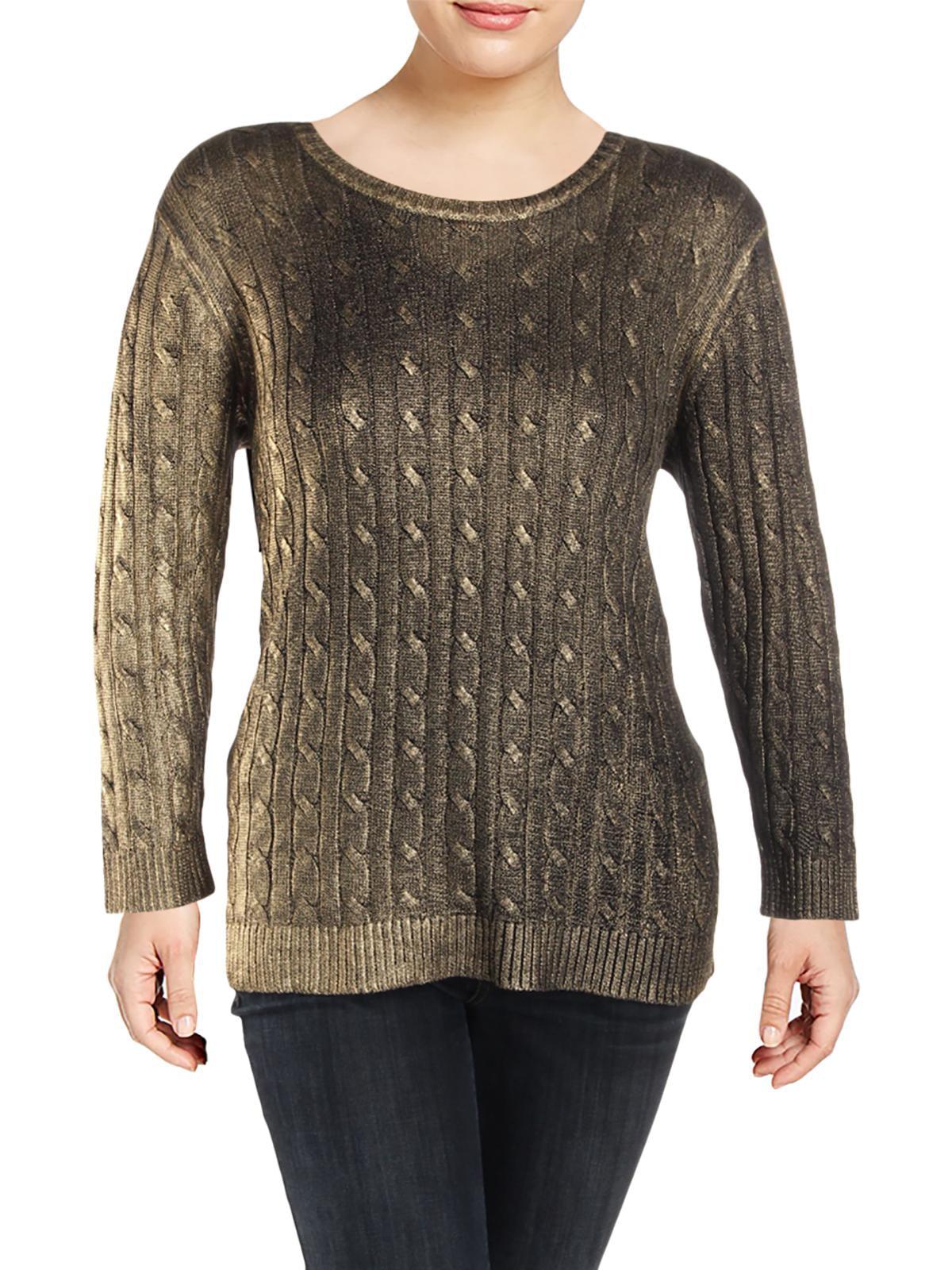 Lauren Ralph Lauren Womens Plus Metallic Cable Knit Pullover Sweater