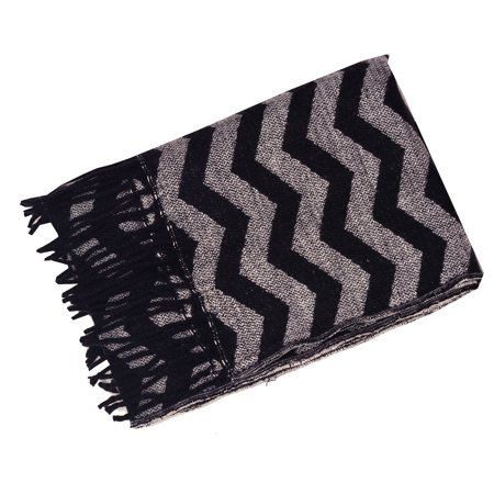 Cashmere Feel Women Black Silver Chevron Stripe Fringed Edge Fashion Scarf