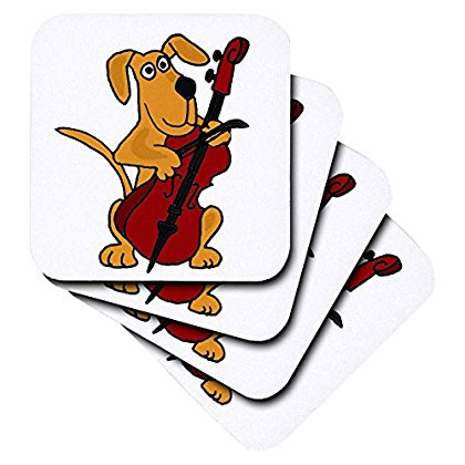 3dRose Cute Brown Puppy Dog Playing Red Cello, Ceramic Tile Coasters, set of 4